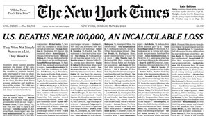 """Perda incalculável"": The New York Times homenageia vítimas mortais do coronavírus na primeira página"